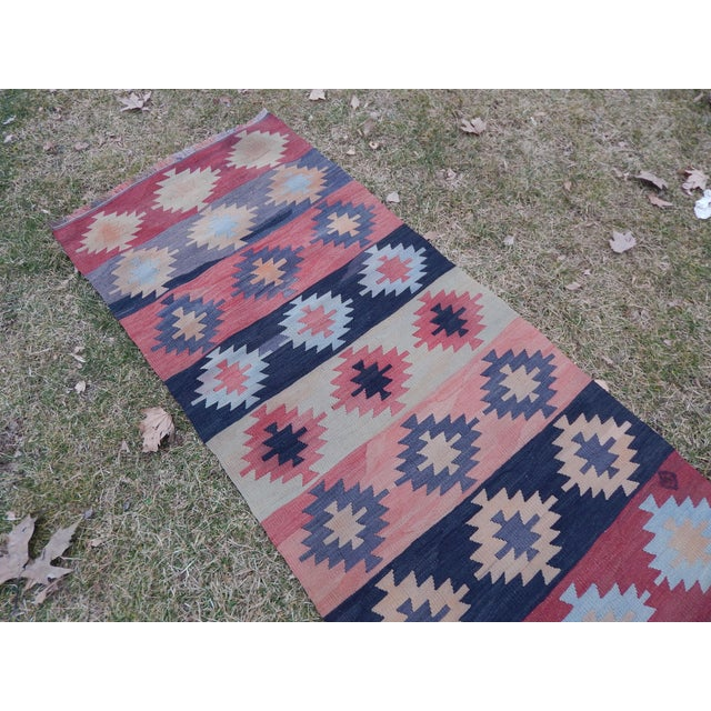 "Orange Vintage Muted Orange Turkish Kilim Runner Rug 2'6"" X 9'4"" For Sale - Image 8 of 13"
