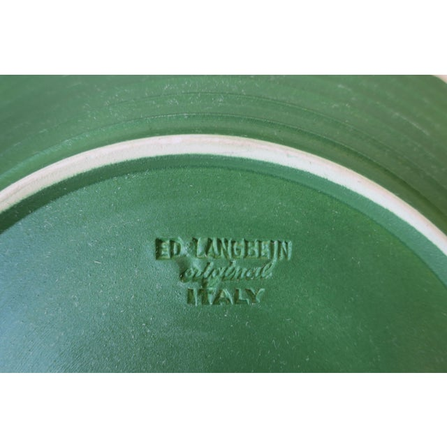 Set of Six Italian Designer Green Matte Pottery Plates With Lotus Design For Sale In New York - Image 6 of 10
