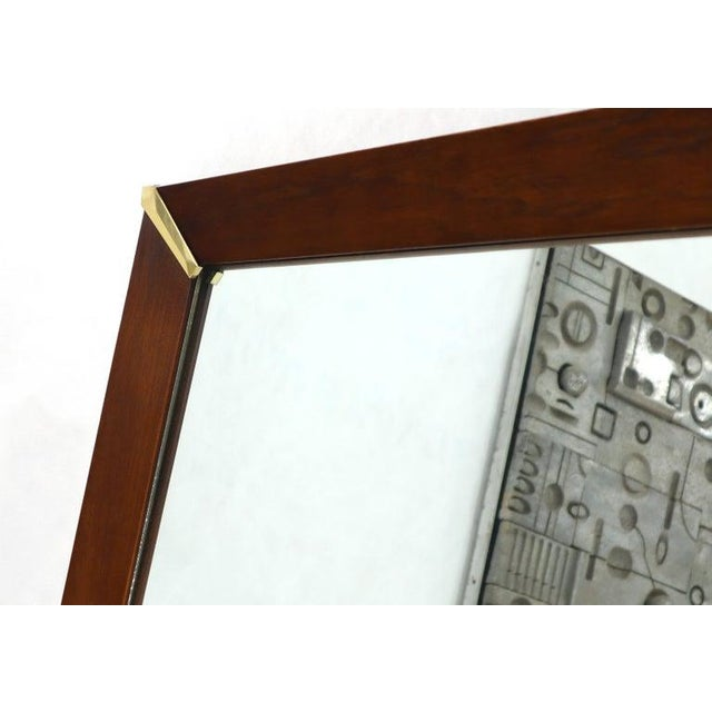 1970s Mid-Century Modern Walnut Frame With Brass Diamond Accents Wall Mirror For Sale - Image 5 of 8