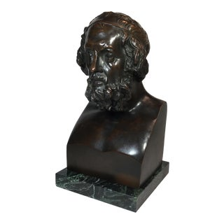 Mid 19th Century Homer Bronze Bust on Marble Base For Sale