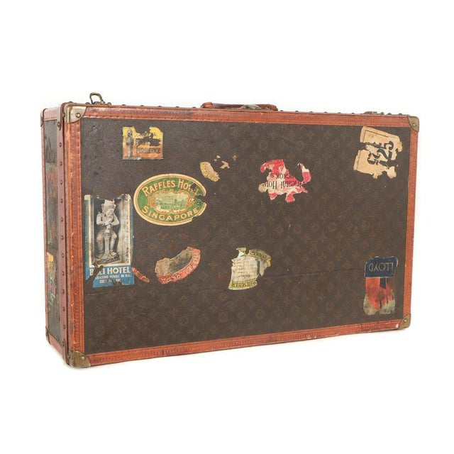 Early 20th Century Louis Vuitton Paris Monogram Canvas Trunk, Hard Suitcase For Sale - Image 13 of 13
