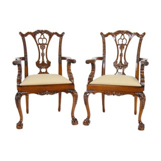 Standard Chippendale Arm Chairs-a Pair For Sale