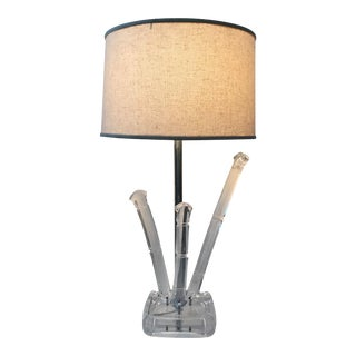 Charles Hollis Jones Style Bamboo Lucite Table Lamp For Sale
