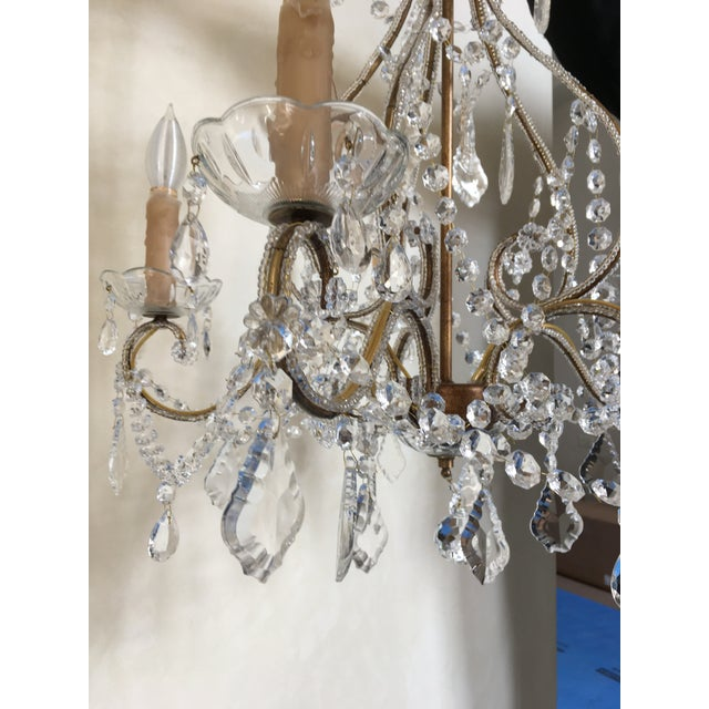 Beautiful chandelier glistening with tons of real crystal on a scrolling golden gilt bronze frame. Has a feel of a...