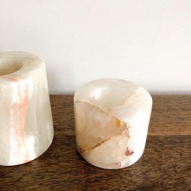 Mid-Century Modern Onyx Pakistani Candlestick Holders, Set of 3 For Sale - Image 3 of 11