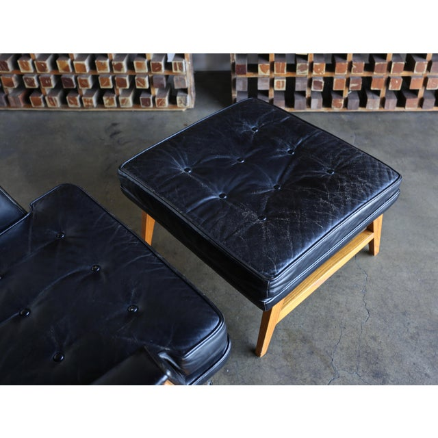 Edward Wormley for Dunbar Leather Lounge Chair and Ottoman Circa 1957 For Sale In Los Angeles - Image 6 of 13