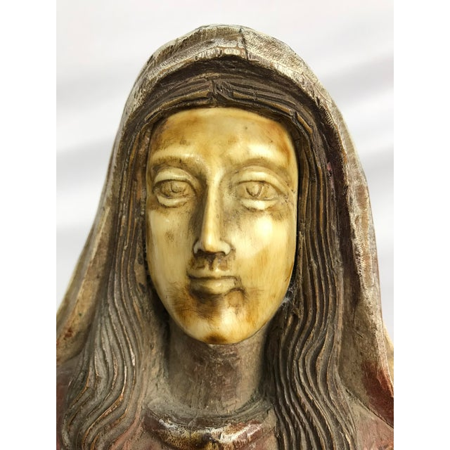 Figurative Vintage Carved Wood, Paint & Gesso Praying Woman Statue For Sale - Image 3 of 7