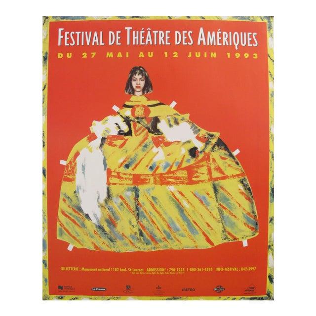 1993 Original Vintage Theatre Poster - Festival De Théâtre Des Amériques For Sale