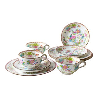 Chinoiserie Minton Cuckoo Breakfast Tea Set - Set of 9