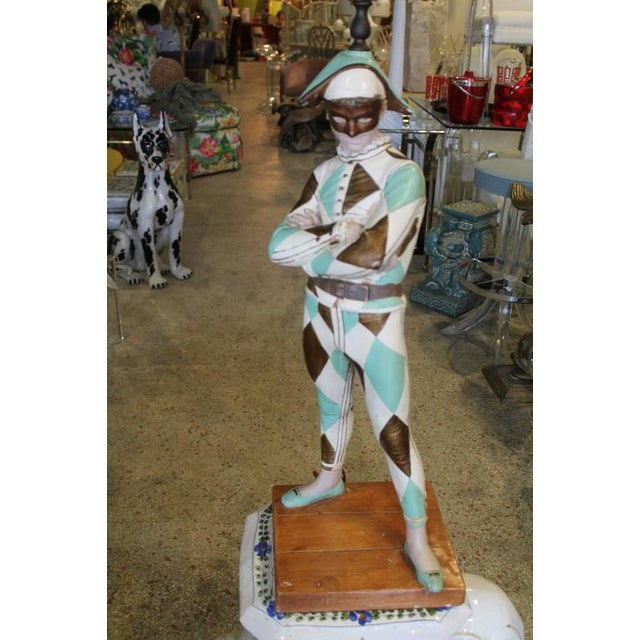 Vintage Harlequin Jester table lamp by Marbro Co. after the sculpture St Marceaux. Mint green and metallic gold colors....