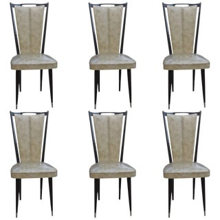 French Art Deco Solid Mahogany Dining Chairs - Set of 6