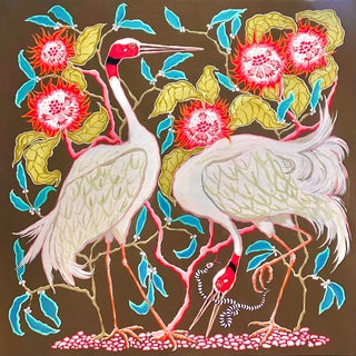 """""""Sarus Cranes"""" Contemporary Acrylic Painting by Paige Gemmel"""