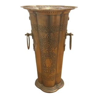 Vintage Brass Embossed Umbrella Stand With Handles For Sale