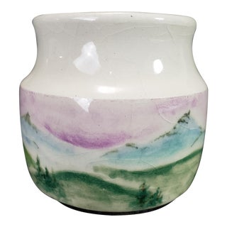 Hand Painted Studio Art Pottery Jar For Sale