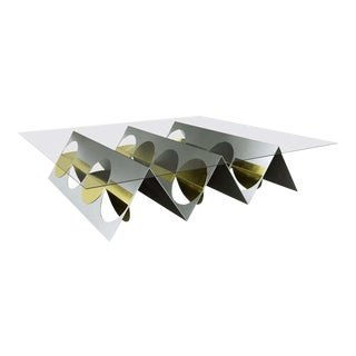 Modern Brass Stainless Steel Coffee Table For Sale