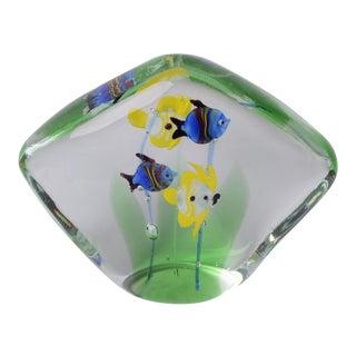 Glass Aquarium Paperweight Murano Sculpture MCM Nautical Fish For Sale