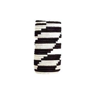 Black & White Zig Zag Raffia Vase For Sale