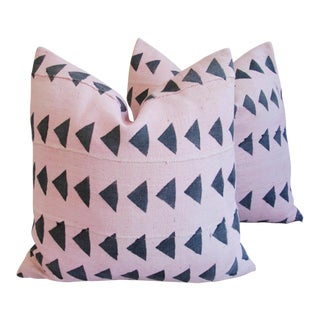Pink & Charcoal Mali Tribal Mud Cloth Pillows - A Pair For Sale