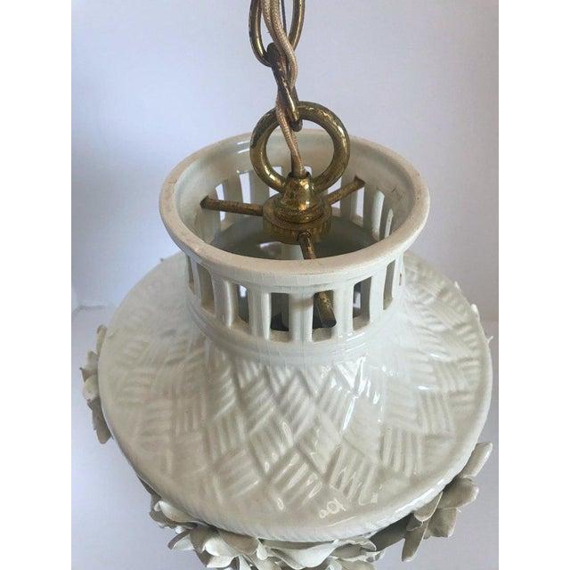 1960's Italian Blanc De Chine Floral Ceramic Pendant Lights For Sale - Image 11 of 13