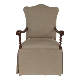 Carved Barley Twist Armchair, Upholstered Seat & Back For Sale