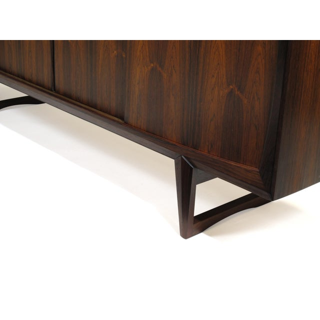 Danish Rosewood Credenza With Metal Pulls For Sale - Image 10 of 11