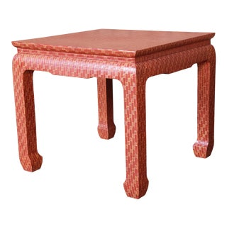 Baker Furniture Mid-Century Hollywood Regency Red Lacquered Grass Cloth Side Table For Sale