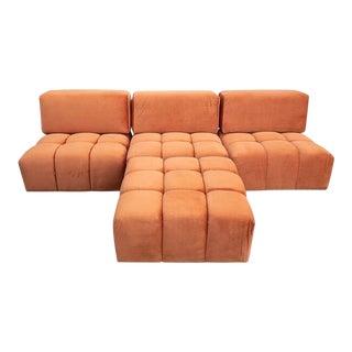 Modern Custom Orange Creamsicle 4-Part Sofa For Sale