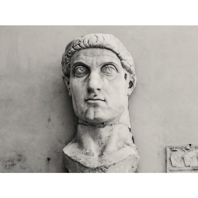 The beautiful, elegant, oversized sculpted head of the Roman Emporer Constantine I, situated in the courtyard of The...