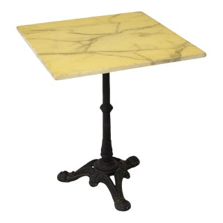French Stone Top Bistro Table With Cast Iron Pedestal Base For Sale