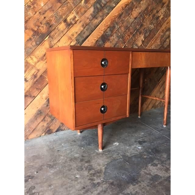 Mid Century Walnut Refinished Desk by Stanley - Image 3 of 7