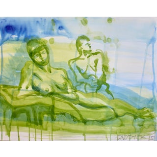 "Contemporary Figurative Acrylic Wash in Blue and Green ""Figures in Green"" by Peter Ruddick For Sale"