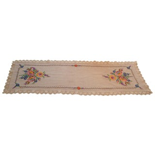 Vintage Handmade European German Polish Linen Table Runner For Sale