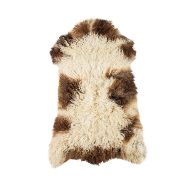 "Contemporary Long Wool Sheepskin Pelt/Handmade Rug - 2'0""x3'2"" For Sale"