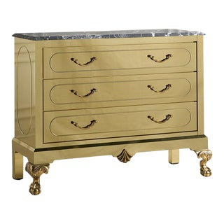 Brass Clad Dresser With Nero Marquina Marble Top For Sale