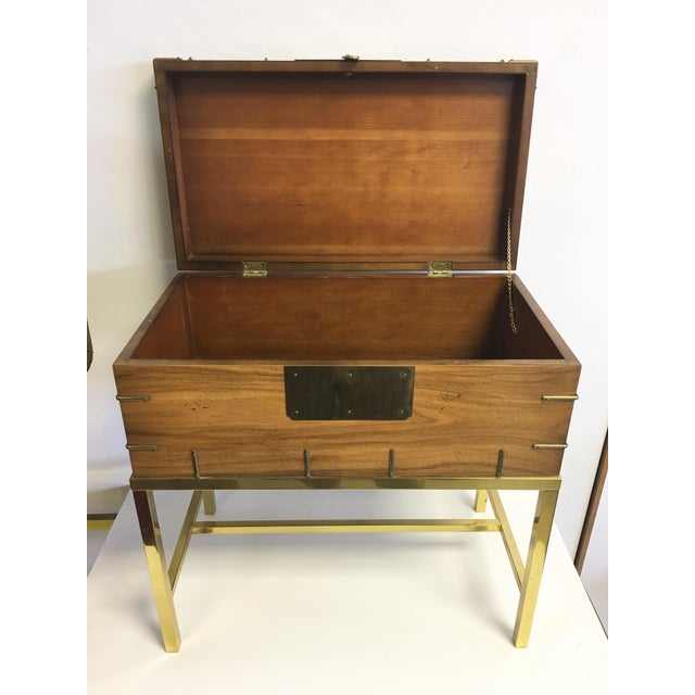 Art Deco MCM Box on Brass Base, Side Table For Sale - Image 3 of 7