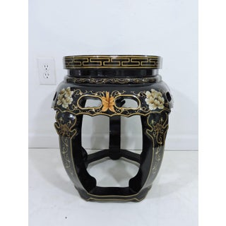 Vintage Chinese Black Lacquer Figural Side Table With Glass Top Preview
