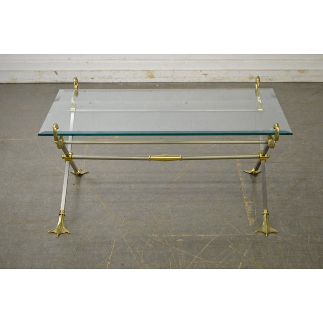 Gold LaBarge X Base Brass Brushed Steel Glass Top Coffee Table For Sale - Image 8 of 13