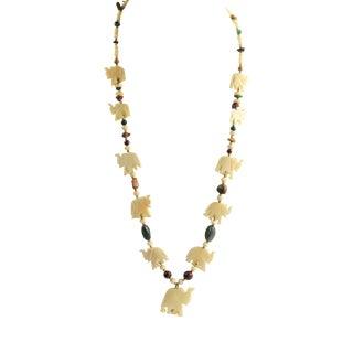 Vintage Carved Bovine Bone & Gemstone Elephant Statement Necklace For Sale