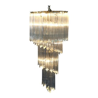 Mid-Century Modern Spiral Eight-Light Brass and Crystal Icicle Chandelier For Sale