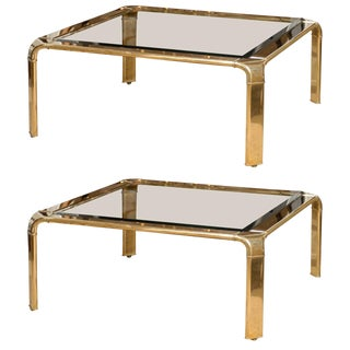 Stunning Widdicomb Brass Coffee Table With Waterfall Corners - Pair Available For Sale