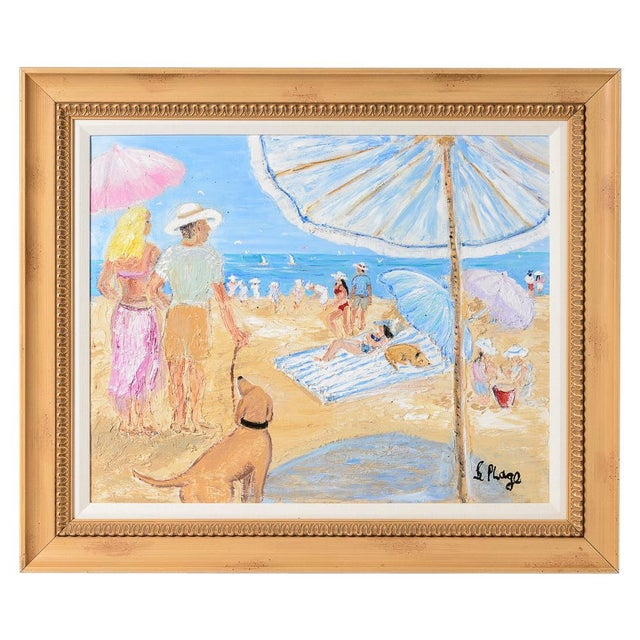 Oil on Canvas Umbrella Beach by Artist Jean Le Page For Sale - Image 11 of 11