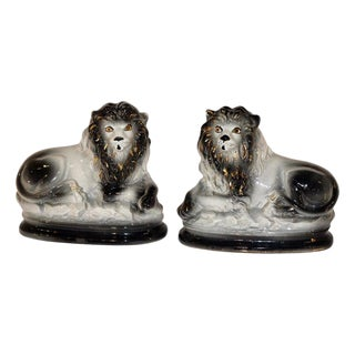 19th Century Staffordshire Lions - a Pair For Sale