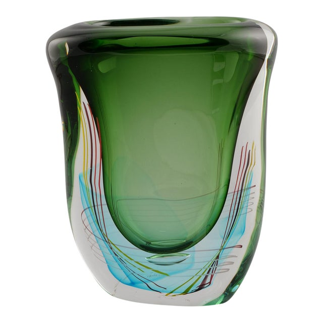 Incredible Large Green Fratelli Toso Murano Glass Vase Decaso