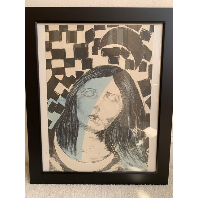 Framed Surreal etching. Signed and number 57 out of a series of 99. Languid woman on a checkerboard background. This was...