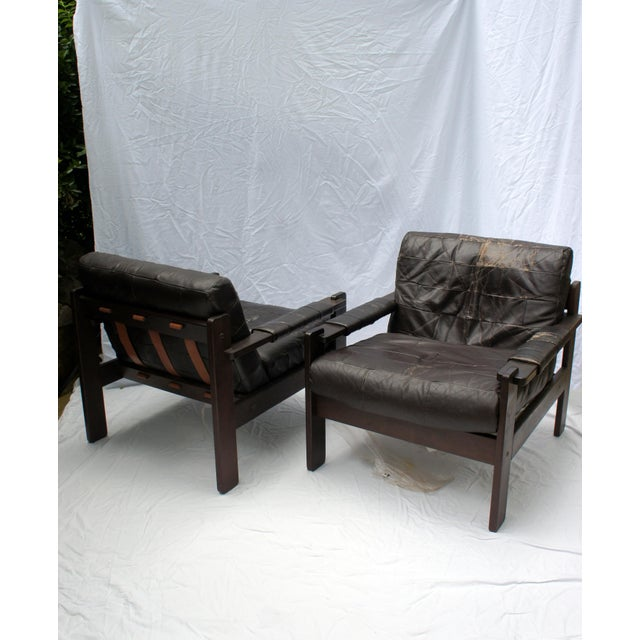 1960s 1960s Vintage Moveis Corazza Brazil Distressed Leather and Jatoba Wood Club Armchairs - a Pair For Sale - Image 5 of 11