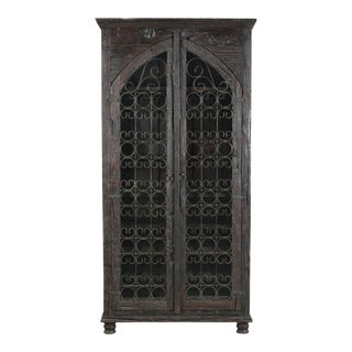 Mango Wood Two Door Accent Wine Cabinet
