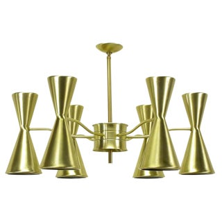 Litecraft Chandelier With Six Pierced Hourglass Shades and Twelve Lights For Sale