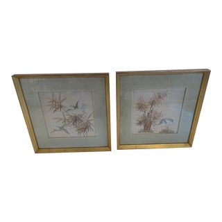Antique Framed Fine Needlework of Herons -A Pair For Sale