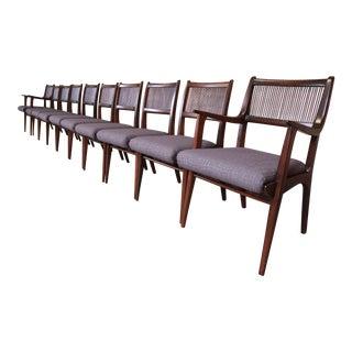 John Van Koert Mid-Century Modern Restored Walnut Dining Chairs, Set of Ten For Sale