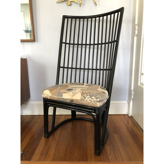 Hollywood Regency Mid-Century Hollywood Regency High Back Wicker Rattan Chair For Sale - Image 3 of 3